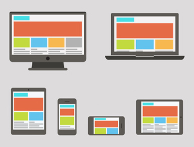 Inforgraphic showing how a web page might look different on different sized and orientated devices